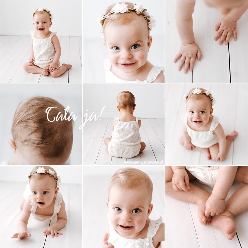 Kilka kadrów z sesji niemowlęcej złożonych w przepiękny kolaż